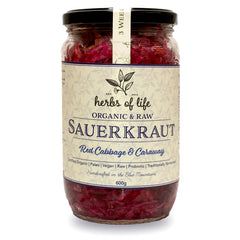 Herbs of Life Sauerkraut Red Cabbage and Caraway 600g