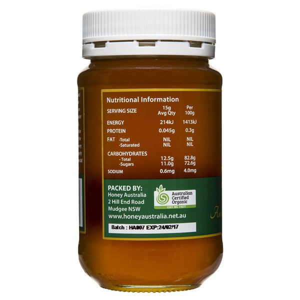 Honey Australia Certified Raw Organic 500g , Grocery-Spreads - HFM, Harris Farm Markets  - 2