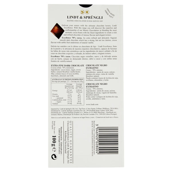 Lindt Excellence 70% Cocoa 100g , Grocery-Confection - HFM, Harris Farm Markets  - 3