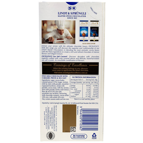 Lindt Excellence - Chocolate Milk - Sea Salt Caramel (100g)