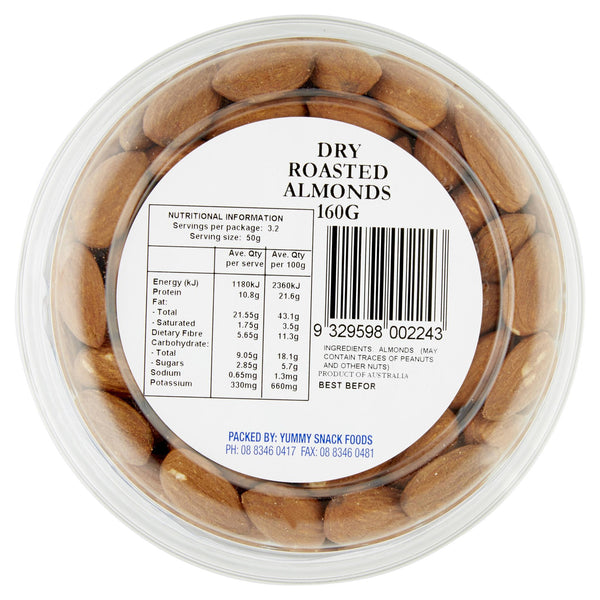 Yummy Almonds Dry Roasted 160g , Grocery-Nuts - HFM, Harris Farm Markets  - 3