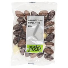 Market Grocer Assorted Chocolate Brazil Nuts 250g , Grocery-Nuts - HFM, Harris Farm Markets  - 1
