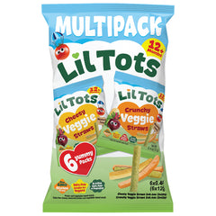 LilTots Snack Veggie Straws Crunchy and Cheesy Multi-Pack 6x12g