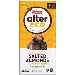 Alter Eco Organic Deep Dark Salted Almonds Chocolate | Harris Farm Online