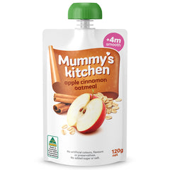 Mummy's Kitchen - Baby Food Pouch - Apple, Cinnamon & Oatmeal (4 months plus, smooth, 120g)