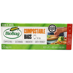 Biobag - Compostable Bags - Tie Top (20 Bags of 10L)