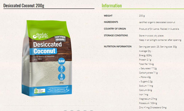Absolute Organic - Desiccated Coconut (200g)