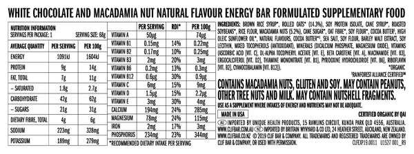Clif Bar White Chocolate Macadamia Nut Energy Bar | Harris Farm Online