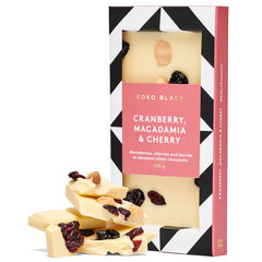 Koko Black White Chocolate Cranberry Macadamia and Cherry 100g