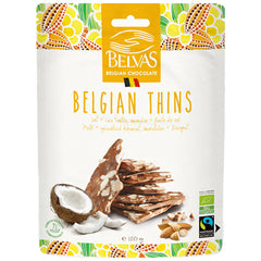 Belvas Belgian Thins Organic Milk Chocolate Coconut, Almond and Sea Salt | Harris Farm Online