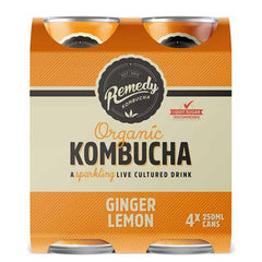 Remedy - Drinks Sparkling Organic Kombucha - Ginger Lemon (4pk x 250mL)