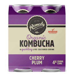 Remedy - Drinks Sparkling Organic Kombucha - Cherry Plum (4pk x 250mL)
