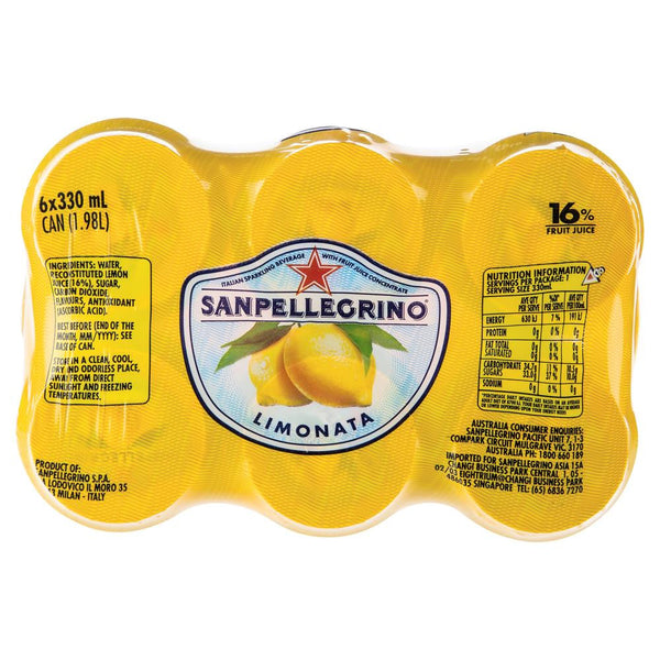 San Pellegrino Can Limonata 6 X 330ml , Grocery-Drinks - HFM, Harris Farm Markets  - 3