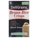 Deligrains Black Sesame Brown Rice Crisps 100g , Grocery-Biscuits - HFM, Harris Farm Markets  - 1