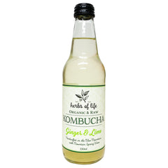 Herbs of Life Organic and Raw Kombucha Ginger and Lime 330ml