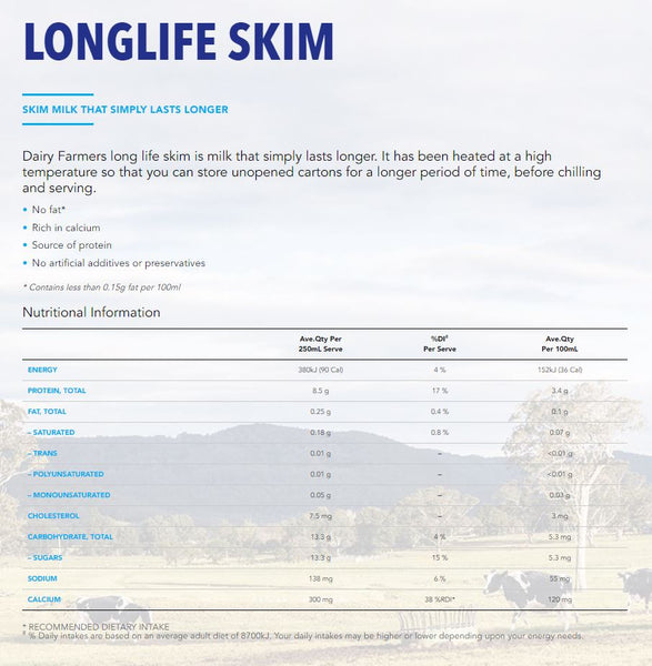 Dairy Farmers - Milk UHT Long Life - Skim (1L)