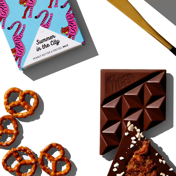 Hey Tiger Summer In The City Peanut Butter and Pretzel Milk Chocolate | Harris Farm Online