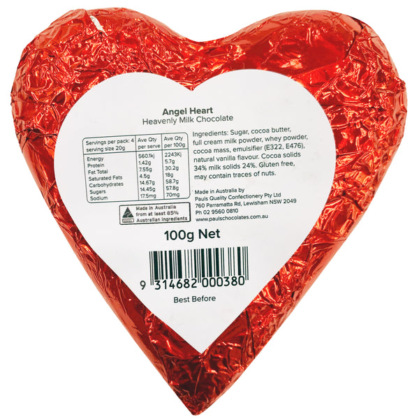 Pauls Quality Confectionery Angel Heart Milk Chocolate | Harris Farm Online