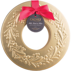 Cachet Assorted Chocolate Pralines Gold Wreath Tin | Harris Farm Online