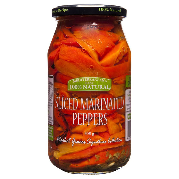 Market Grocer Sliced Marinated Peppers 450g , Grocery-Antipasti - HFM, Harris Farm Markets  - 1