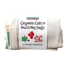 Harris Farm - Muslin Bags - Organic Cotton Fruit & Veg (3 Mixed sizes, Reusable Bags)