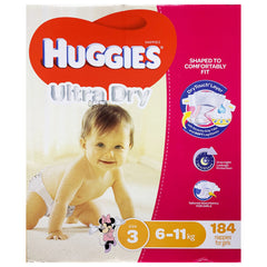 Huggies - Girls Nappies - Size 3 - Ultra Dry (6-11kg, 184 nappies)