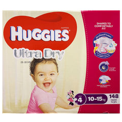 Huggies - Girls Nappies - Size 4 - Ultra Dry (10-15kg, 148 nappies)