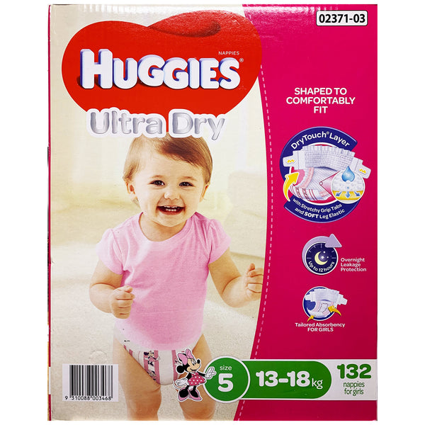 Huggies - Girls Nappies - Size 5 - Ultra Dry (13-18kg, 132 nappies)