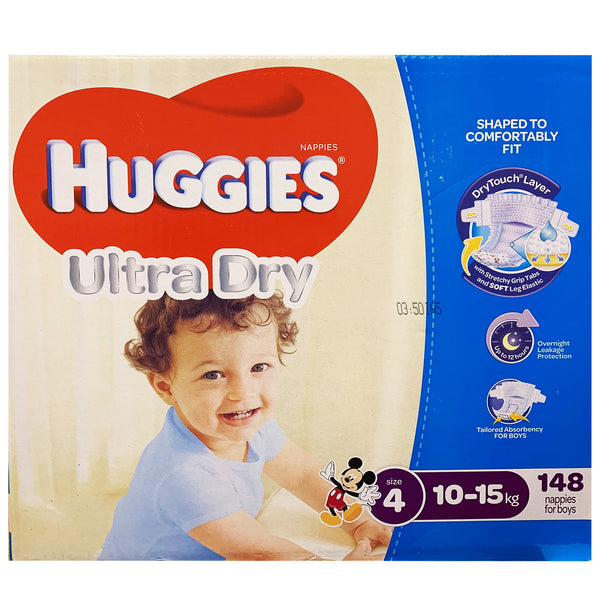 Huggies - Boys Nappies - Size 4 - Ultra Dry (10-15kg, 148 nappies)
