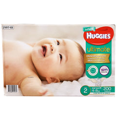 Huggies - Boys & Girls Nappies - Size 2 - Ultimate (Infant 4-8kg, 200 nappies)