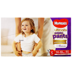 Huggies - Boys & Girls Nappies Pant - Size 5 - Ultimate (14-18kg, 80 nappies)