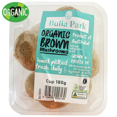 Mushrooms Swiss Brown - Organic (180g punnet)