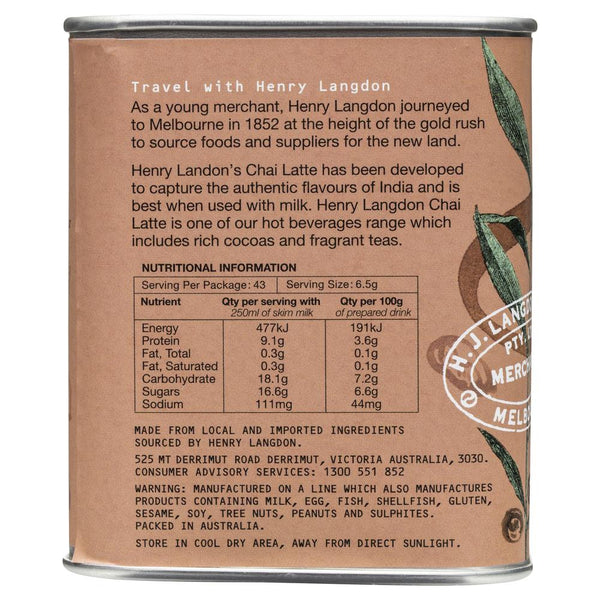 Henry Tea Chai Latte 280g , Grocery-Coffee - HFM, Harris Farm Markets  - 2