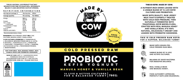 Made by Cow - Kefir Yoghurt Probiotic - Manuka Honey and Vanilla Bean (750mL)