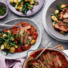 Puttanesca Pork Steaks with Green Beans and Chat Potatoes
