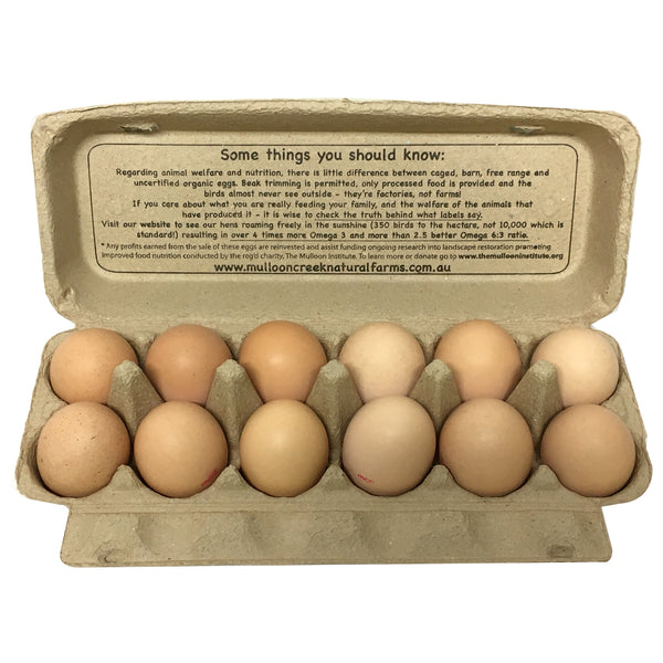 Mulloon Creek - Eggs Organic - Extra Large (12eggs, 700g)