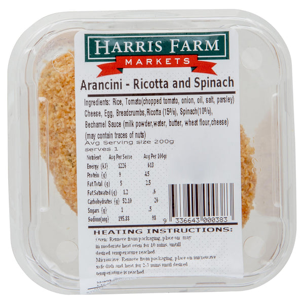 Harris Farm Arancini Ricotta And Spinach 200g , Frdg3-Meals - HFM, Harris Farm Markets