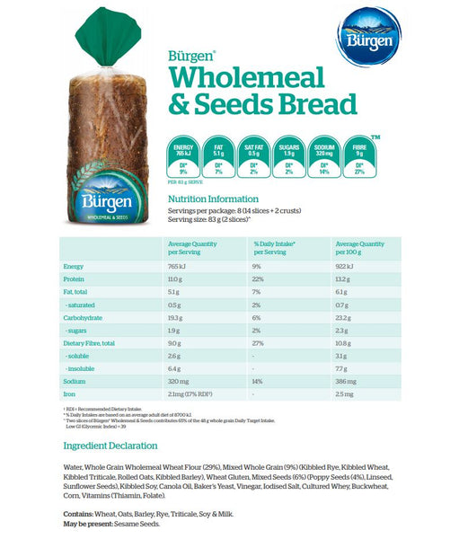 Burgen - Bread Wholemeal Seeds (700g)