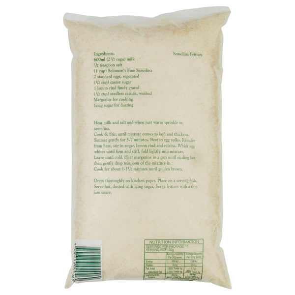 Solomon Semolina Fine 750g , Grocery-Grains - HFM, Harris Farm Markets  - 2