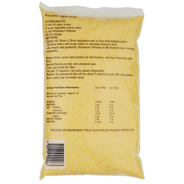 Solomon Polenta Coarse 750g , Grocery-Grains - HFM, Harris Farm Markets  - 2