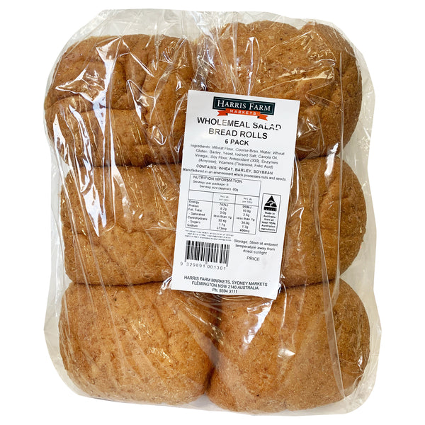 Harris Farm - Bread Rolls - Wholemeal Salad (6pk)