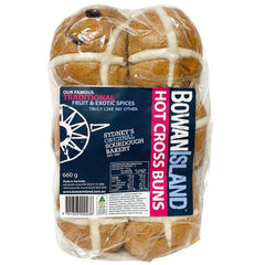 Bowan Island - Hot Cross Buns - Traditional Fruit and Exotic Spices (6 buns, 660g)