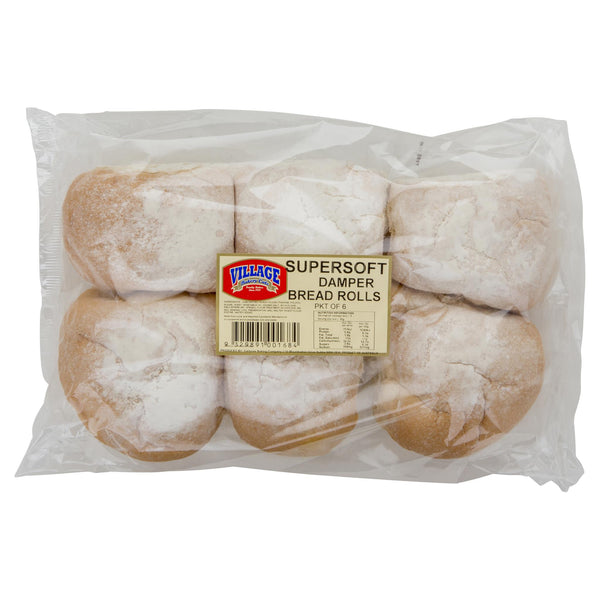 Village Bakery Cafe Supersoft Damper Bread Rolls 6pk , Z-Bakery - HFM, Harris Farm Markets