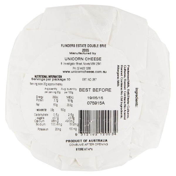 Flinders Estate Double Brie 200g , Frdg1-Cheese - HFM, Harris Farm Markets  - 2