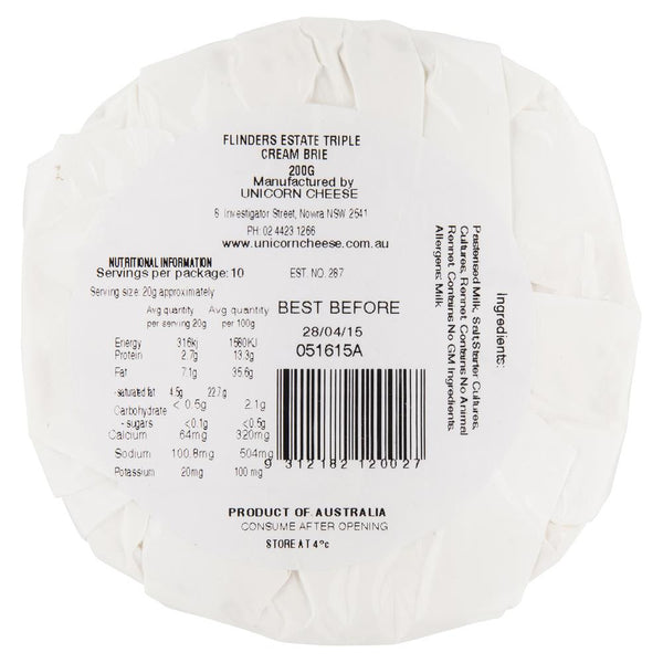 Flinders Estate Triple Cream Cheese 200g , Frdg1-Cheese - HFM, Harris Farm Markets  - 2