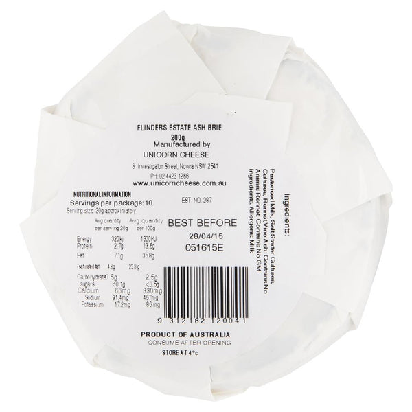 Flinders Estate Ash Brie 200g , Frdg1-Cheese - HFM, Harris Farm Markets  - 2