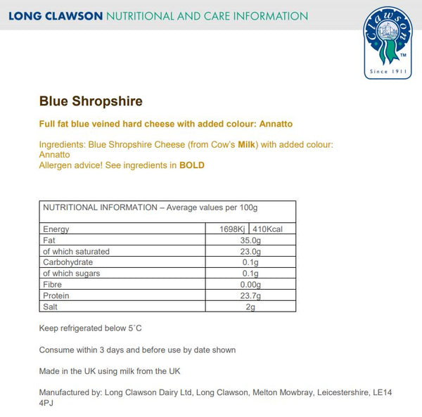Blue Cheese - Shropshire Blue (140-180g) Long Clawson