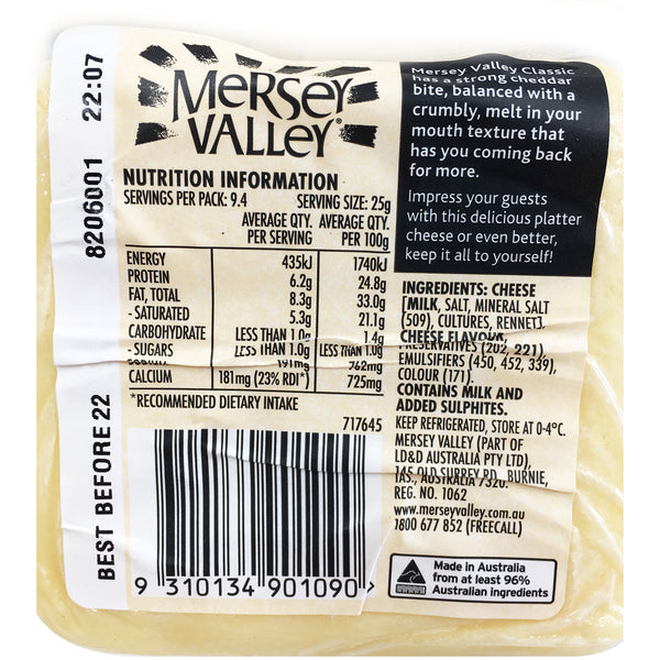 Cheddar - Classic - Sharp and Crumbly (235g) Mersey Valley