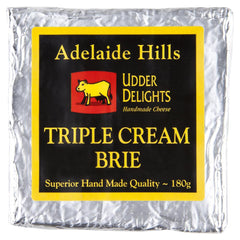 Brie Udder Delights Triple Cream 180g , Frdg1-Cheese - HFM, Harris Farm Markets  - 1