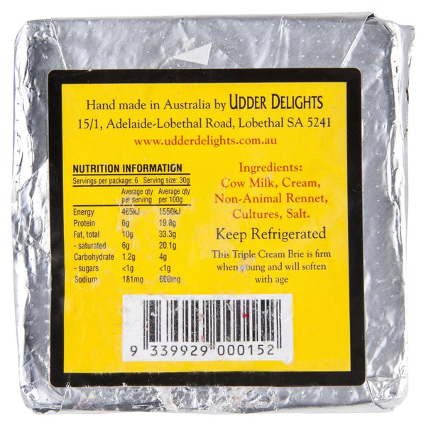 Brie Udder Delights Triple Cream 180g , Frdg1-Cheese - HFM, Harris Farm Markets  - 2